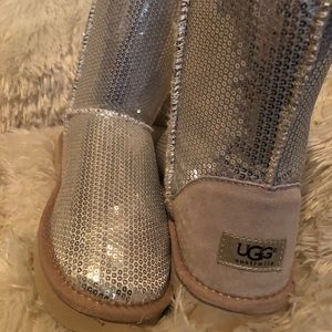 Ugg short silver sequined boots 10